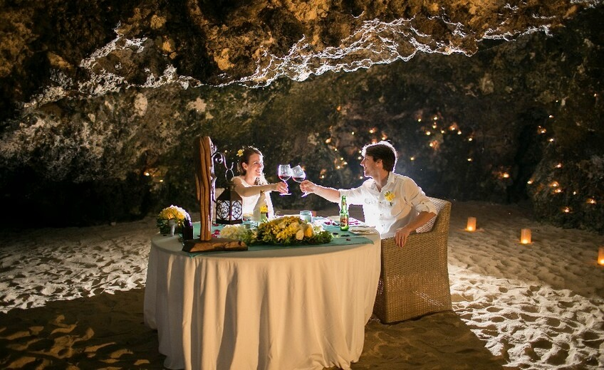 Romantic Cave Dining on a Private Beach