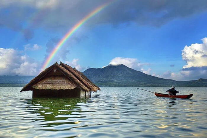 Half-submerged house at Lake Batur
